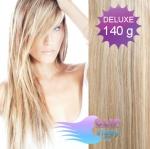 DELUXE 40cm clip in vlasy REMY - melír platina/světle hnědá #60/16