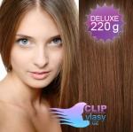 DELUXE Clip in vlasy REMY 50cm - světlejší hnědá #6