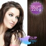 DELUXE Clip in vlasy REMY 50cm - čokoládově hnědá #4