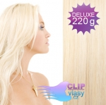 DELUXE Clip in vlasy REMY 50cm - platinově blond #60