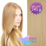 DELUXE Clip in vlasy REMY 60cm - přírodní blond #22