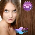 DELUXE Clip in vlasy REMY 60cm - světlejší hnědá #6