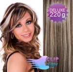 DELUXE Clip in vlasy REMY 50cm - tmavý melír #4/27