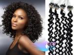 Kudrnaté 60 cm vlasy k prodloužení micro ring - 0,7g uhlově černá #1