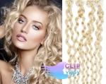 Kudrnaté 60 cm vlasy k prodloužení micro ring - 0,7g platina #60
