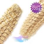 Kudrnaté DELUXE clip in vlasy REMY 50cm - platinově blond #60