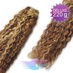 Kudrnaté DELUXE clip in vlasy REMY 50cm - melír blond a čokoládově hnědá #4/22