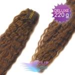 Kudrnaté DELUXE clip in vlasy REMY 50cm - světlejší hnědá #6