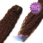 Kudrnaté DELUXE clip in vlasy REMY 50cm - čokoládově hnědá #4