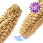 Kudrnaté DELUXE clip in vlasy REMY 50cm - melír přírodní a světlejší blond #18/22