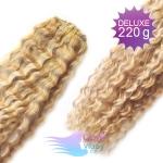 Kudrnaté DELUXE clip in vlasy REMY 50cm - melír platina/světle hnědá #60/16