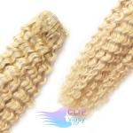 Kudrnaté clip in vlasy REMY 50cm - platinově blond #60