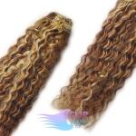 Kudrnaté clip in vlasy REMY 50cm - melír blond a čokoládově hnědá #4/22