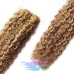 Kudrnaté clip in vlasy REMY 50cm - světlý melír #12/613