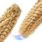 Kudrnaté clip in vlasy REMY 50cm - melír přírodní a světlejší blond #18/22