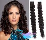 Kudrnaté tape in 60cm vlasy REMY - přírodní černá #1b