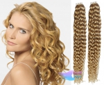 Kudrnaté tape in 60cm vlasy REMY - přírodní blond #22
