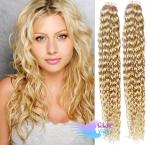 Kudrnaté tape in 60cm vlasy REMY - nejsvětlejší blond #613