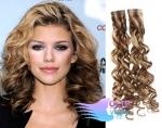 Kudrnaté tape in 60cm vlasy REMY - světlý melír #12/613
