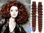 Kudrnaté tape in 60cm vlasy REMY - měděná #350