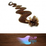 Vlnité 50 cm vlasy k prodloužení micro ring - 0,5g světlejší hnědá #6