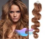 Vlnité 50 cm vlasy k prodloužení micro ring - 0,7g světle hnědá #12