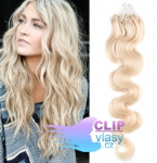 Vlnité 60 cm vlasy k prodloužení micro ring - 0,5g platina #60