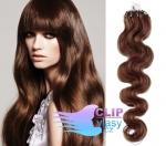 Vlnité 60 cm vlasy k prodloužení micro ring - 0,7g světlejší hnědá #6