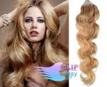 Vlnité 60 cm vlasy k prodloužení micro ring - 0,7g přírodní blond #22