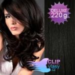 Vlnité DELUXE clip in vlasy REMY 50cm - uhlově černá #1