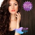 Vlnité DELUXE clip in vlasy REMY 50cm - tmavě hnědá #2
