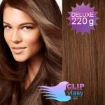 Vlnité DELUXE clip in vlasy REMY 50cm - středně hnědá #6