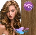 Vlnité DELUXE clip in vlasy REMY 50cm - světle hnědá #12