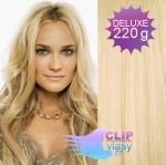 Vlnité DELUXE clip in vlasy REMY 50cm - nejsvětlejší blond #613