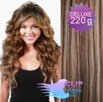 Vlnité DELUXE clip in vlasy REMY 50cm - tmavý melír #4/27
