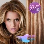 Vlnité DELUXE clip in vlasy REMY 50cm - světlý melír #12/613