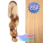 Vlnitý clip in cop 50cm - melír přírodní a světlejší blond #18/22