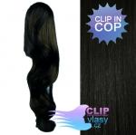 Vlnitý clip in cop 60 cm kanekalon - uhlově černá #1
