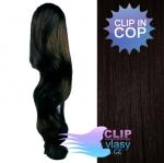 Vlnitý clip in cop 60 cm kanekalon - přírodní černá #1b