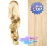 Vlnitý clip in cop 60 cm kanekalon - nejsvětlejší blond #613