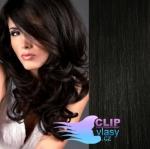 Vlnité clip in vlasy REMY 50cm - uhlově černá #1