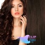Vlnité clip in vlasy REMY 50cm - tmavě hnědá #2