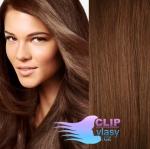 Vlnité clip in vlasy REMY 50cm - středně hnědá #6