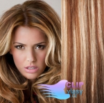 Vlnité clip in vlasy REMY 50cm - světlý melír #12/613