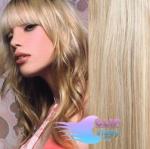 Vlnité clip in vlasy REMY 50cm - melír platina/světle hnědá #60/16