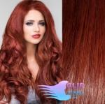 Vlnité clip in vlasy REMY 50cm - měděná #350