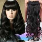 Vlnitý clip in pás 60cm 100% lidské vlasy - černá