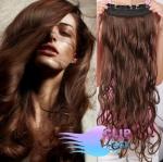 Vlnitý clip in pás 60cm 100% lidské vlasy - středně hnědá