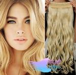 Vlnitý clip in pás 60cm 100% lidské vlasy - nejsvětlejší blond