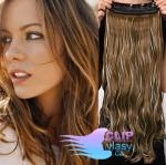 Vlnitý clip in pás 60cm 100% lidské vlasy - tmavý melír